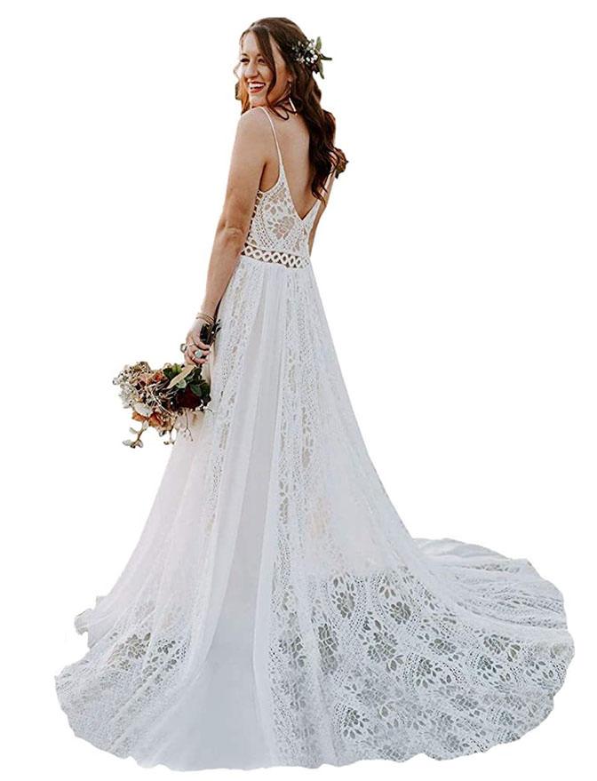 Liposa Bohemian spaghetti strap wedding dress - plus size wedding dresses under 200