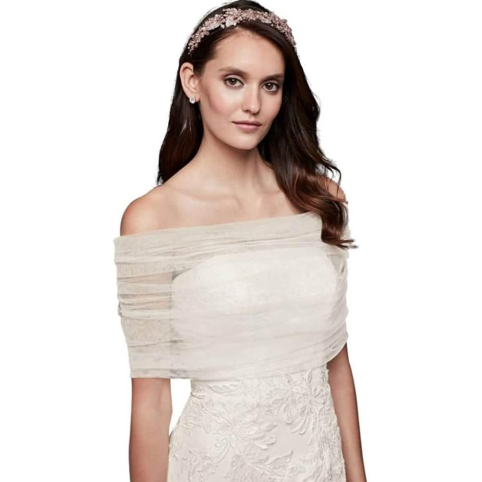 David's Bridal off-the-shoulder tulle wrap