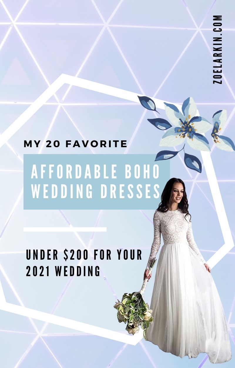 20 stunning boho wedding dresses available on Amazon for under $200. Can it be possible? You wouldn't believe how these boho-inspired wedding dresses are so affordable now! Whatever your wedding style, a bohemian wedding dress eludes relaxed, classic style that can be paired with flower crowns + gladiator sandals or dressed up with heels + cascading florals. The boho wedding style is one of my faves! Enjoy my selection of affordable wedding dresses  #bohowedding #weddingdresses | zoelarkin.com