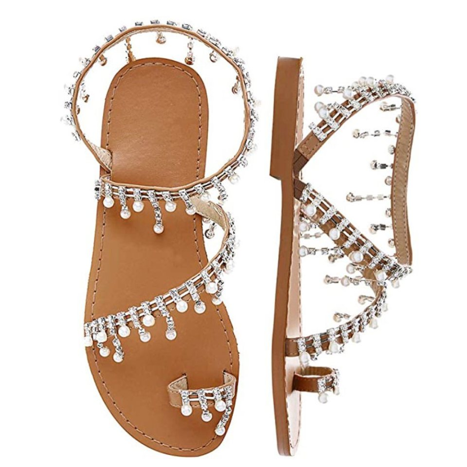Shoe n' Tale rhinestone gladiator sandals perfect for a boho wedding