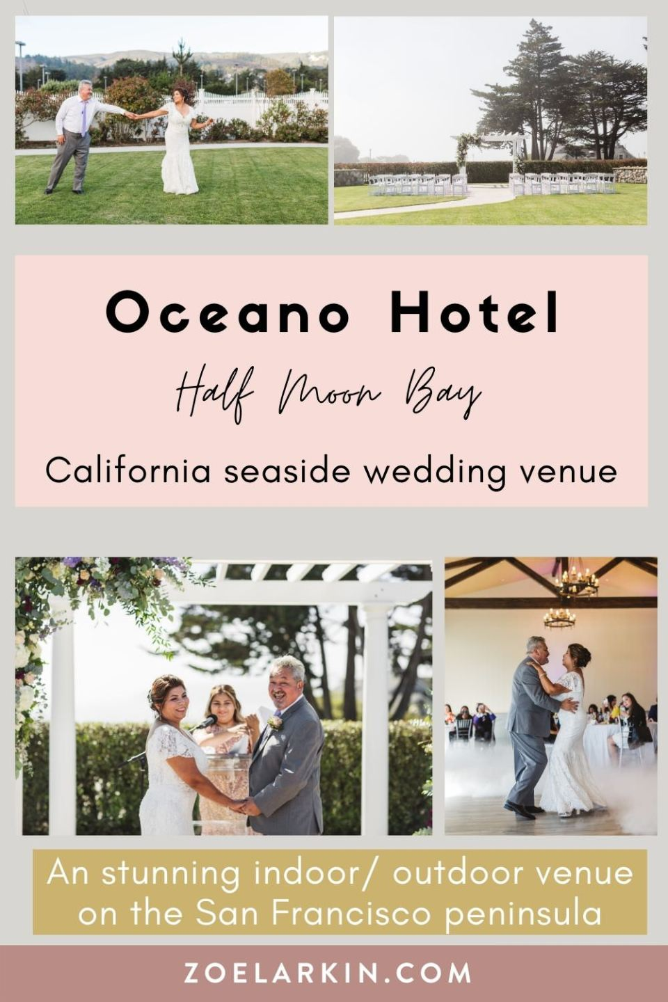 Presenting the stunning Oceano Hotel in Half Moon Bay, in the Bay Area of California. One of the most stunning Bay Area wedding venues, this blog post showcases one of my Latino couples who had a beautiful intimate wedding at this stunning coastal California wedding venue. If you're looking for venue ideas for your intimate Bay Area wedding, the Oceano Hotel and Spa could be perfect for you as a budget-friendly, spacious venue option. | #bayareawedding #weddingphotographer