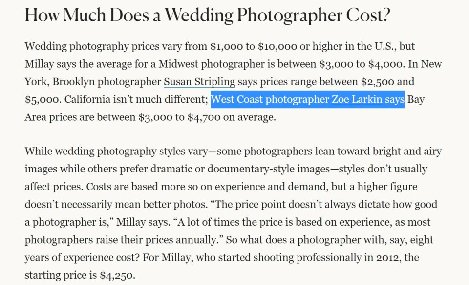 screenshot from a well-known wedding publication, which cited me (Zoe Larkin) as the author of an industry study I published on my blog