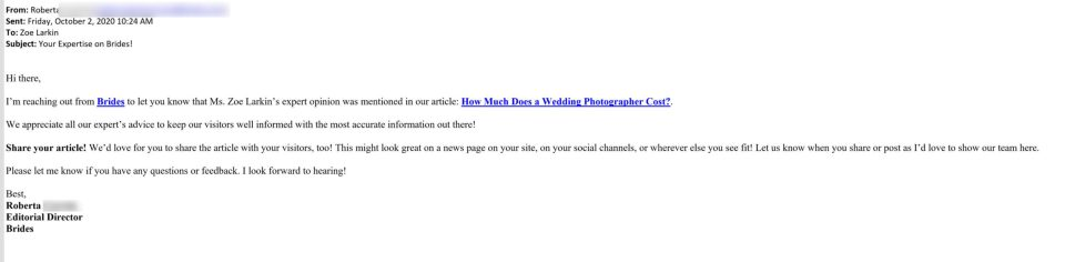 An email screenshot from brides.com letting me know they were going to cite my original research published on my wedding photography blog.