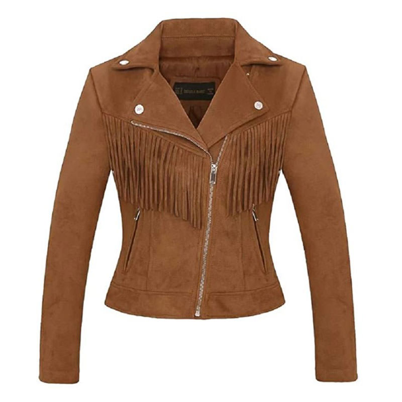 CHARTOU Women's Stylish suede jacket with tassels engagement photography ideas for great photos