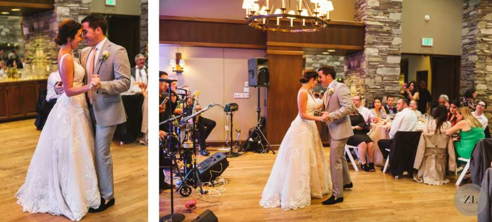 couple having their first dance at Highlands Country Club, Oakland CA fireside room