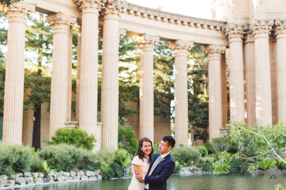 Wedding photos at the palace of fine arts with a couple who had a couple-only elopement during the coronavirus pandemic