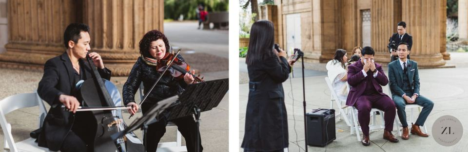 wedding musicians at the Palace of Fine Arts in San Francisco providing live music