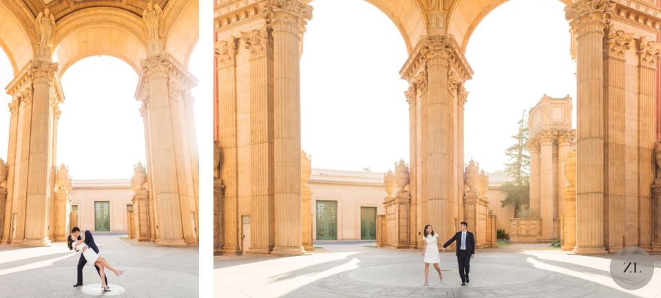 couple walking under the rotunda of the Palace of Fine Arts, San Francisco