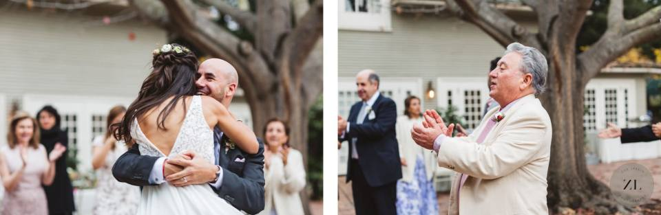 first dance outdoors at Gamble Garden wedding photographed by Zoe Larkin Photography
