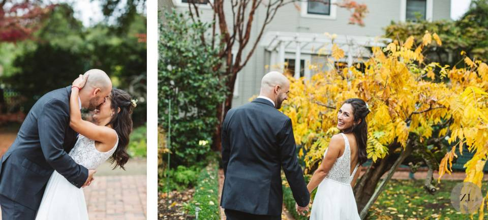 playful, candid wedding day photography session at intimate gamble garden wedding by Zoe Larkin photography