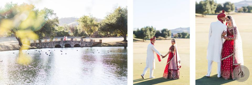 wedding photos of the bridge over the pond at the club at ruby hill