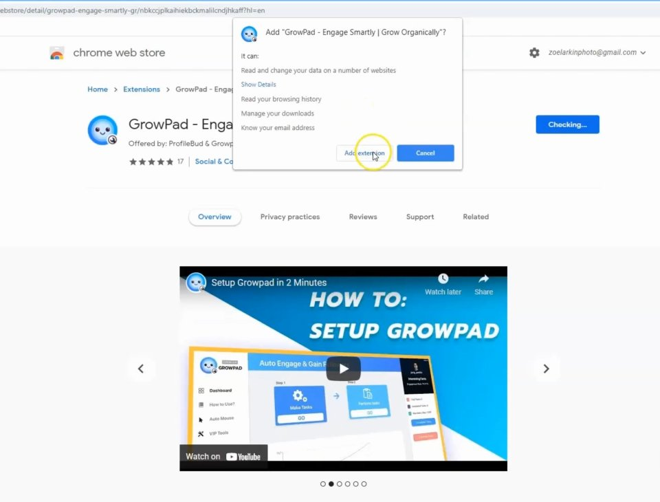screenshot of Growpad in the Google Chrome Web Store showing how to add and install the Growpad extension