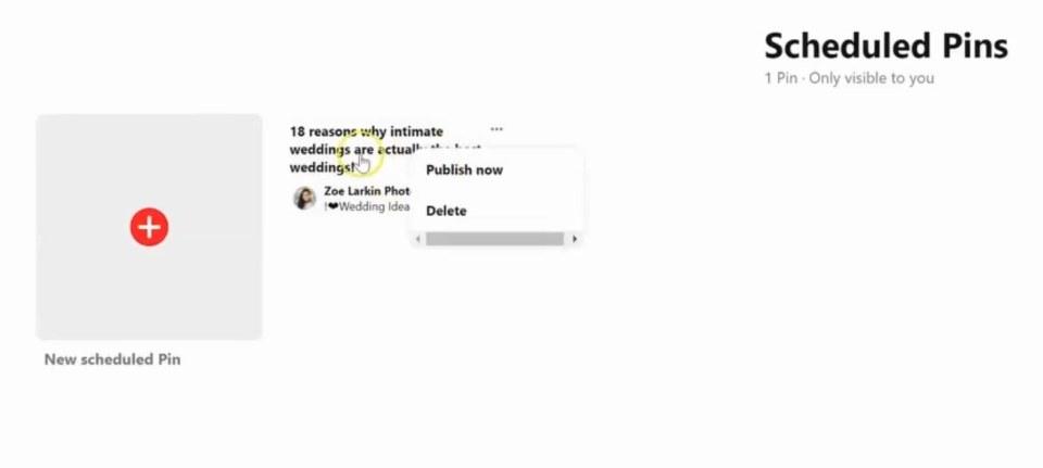 cannot edit a scheduled pin on Pinterest native scheduler