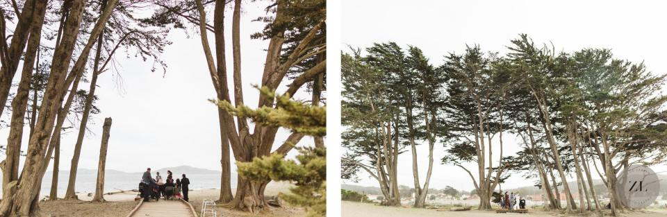 intimate wedding ceremony at Cypress Grove on Crissy Field East Beach