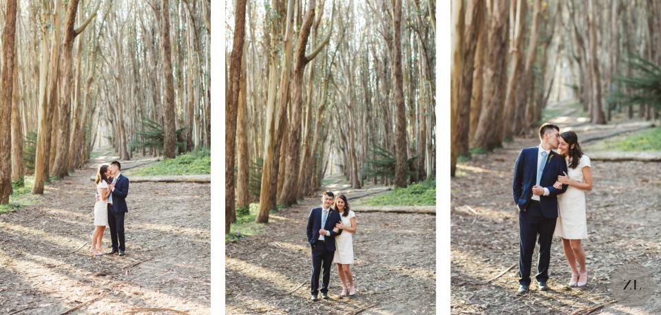 A couple's pandemic wedding photos taken at lovers' lane in san Francisco by Zoe Larkin Photography