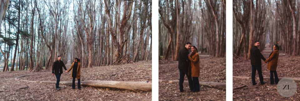 Presidio engagement session with African American couple at Lovers Lane