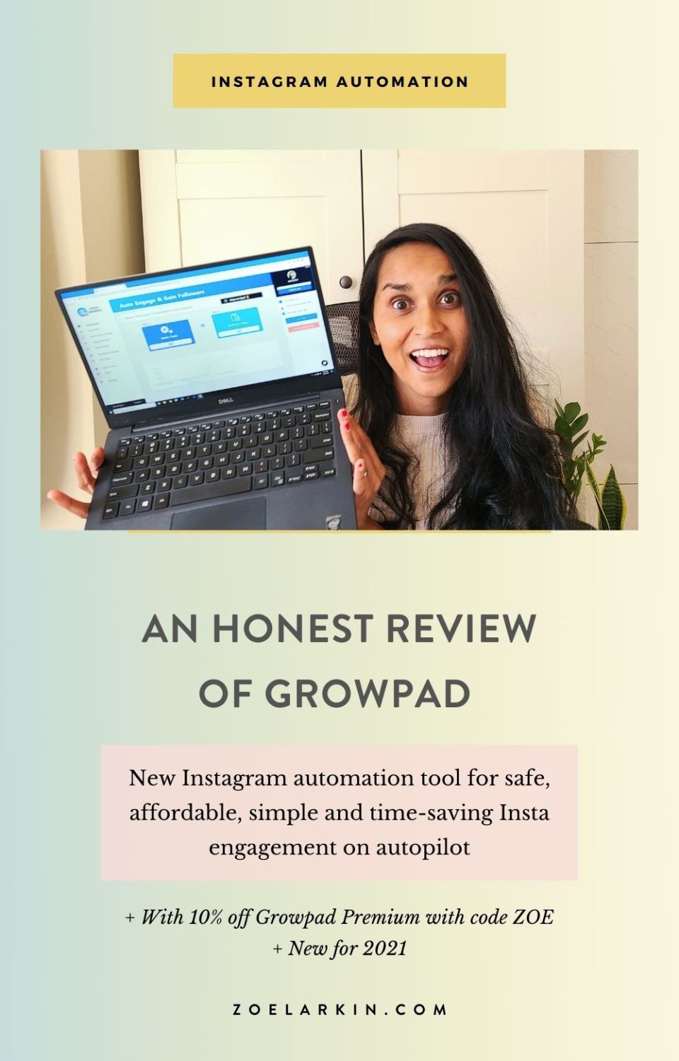 You've probably heard of Growpad, the newest and SAFEST Instagram automation bot that engages authentically on your behalf using a Chrome extension on your own computer via the Auto Mouse functionality. It's a robust, yet simple and intuitive piece of software that even Instagram automation beginners will find easy. Use Growpad promo code ZOE, you'll get 10% off your subscription to Growpad Premium. Get started for free! Check out my indepth tutorial. get off Instagram and get your life back!