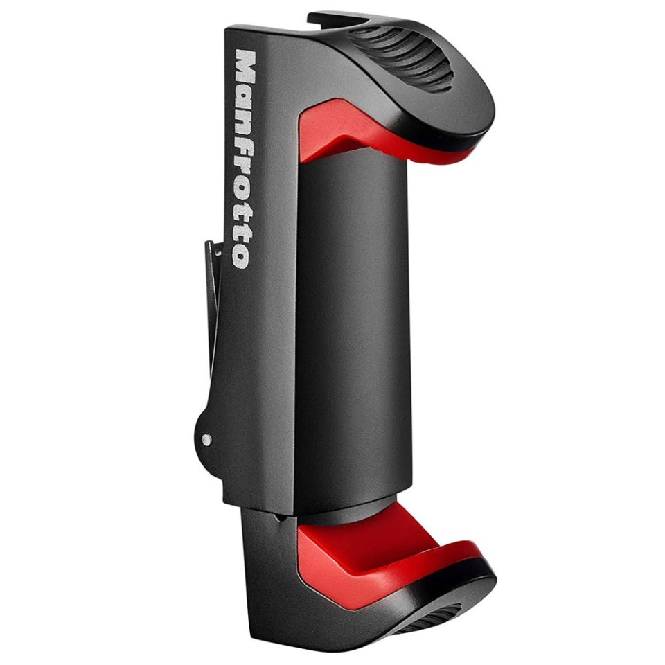 good quality phone mount to attach phone to tripod by Manfrotto available on Amazon