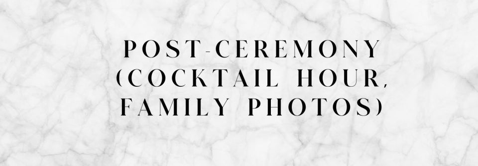 day of wedding tips - post-ceremony tips for cocktail hour and family photos