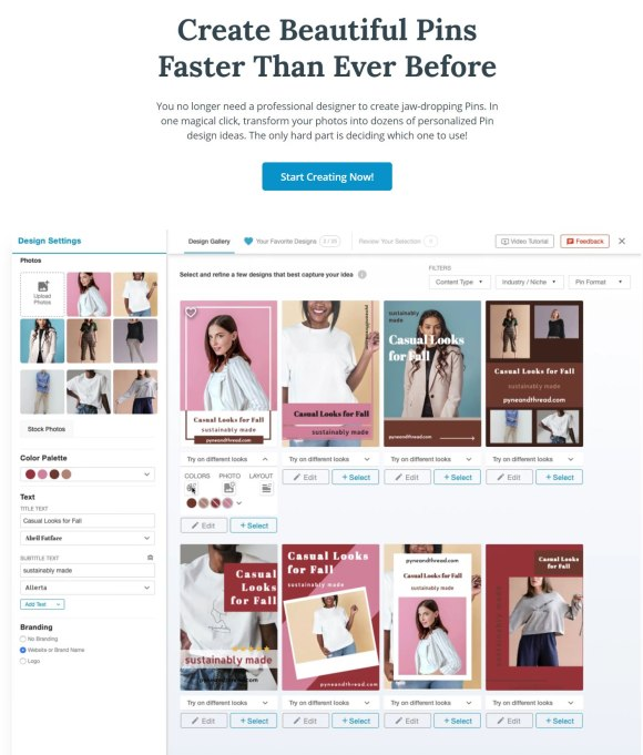 Create beautiful pinterest pins fast and free with Tailwind Create