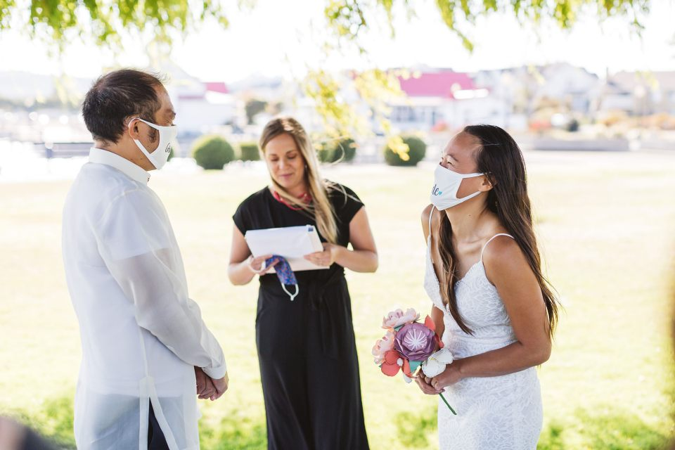 Couple wearing masks on their wedding day