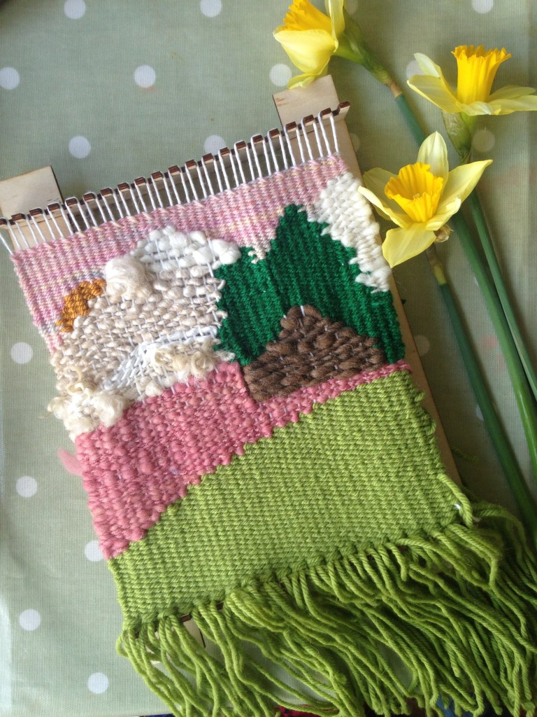 Literary wall hangings - book inspired weavings. Heidi, Alice in Wonderland handmade by Zoeprose