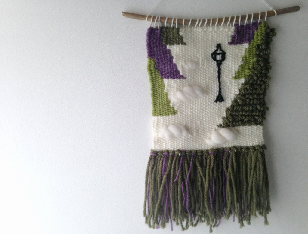 Narnia literary wall hanging, handwoven book decor. Perfect for a literary themed nursery, bringing the Lion the Witch and the Wardrobe alive in your home.