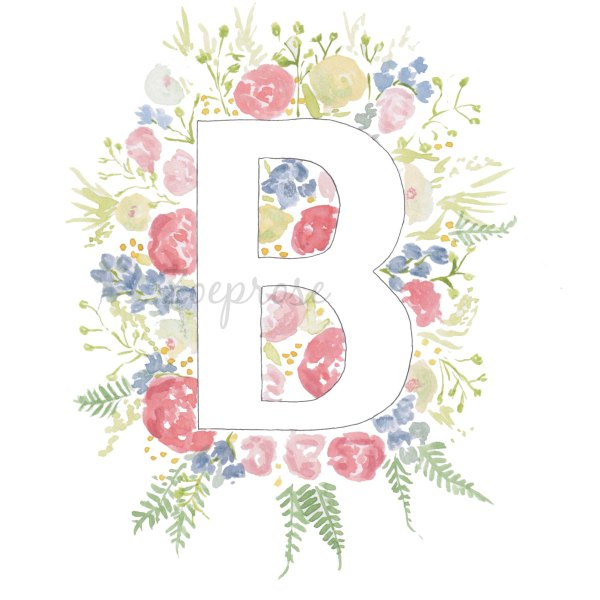 B floral alphabet print | Zoeprose
