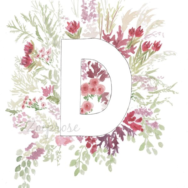 Letter D floral alphabet print | Zoeprose