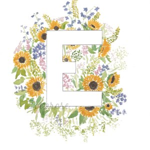 Letter E floral alphabet print | Zoeprose