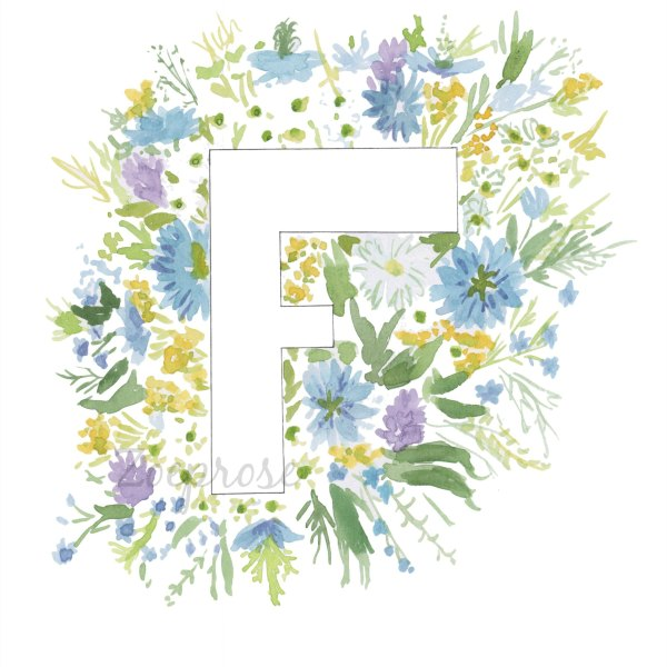 Letter F floral alphabet print   Zoeprose