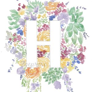 H Floral Alphabet Letter Print | Zoeprose