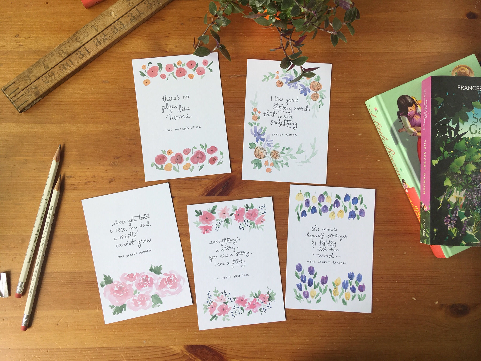 Good strong words postcard set | Literary quote cards