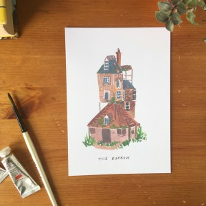 The Burrow, Harry Potter print, Weasley Home by Zoeprose
