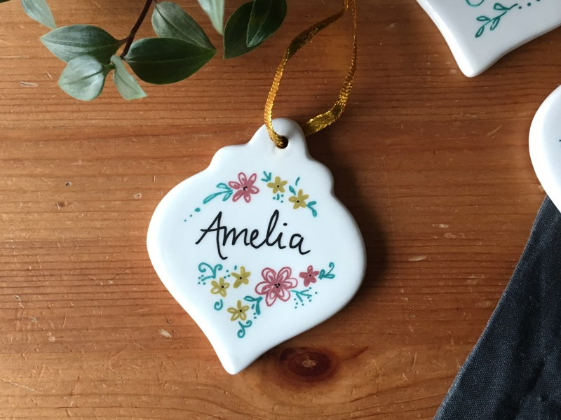 Personalised floral bauble