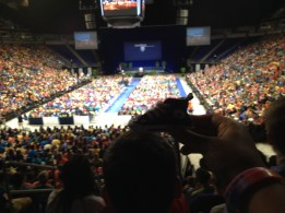 Here, the shoe is at Convocation, standing on this kid's head to get a better view