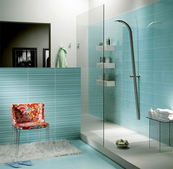 Fabulous-bathroom-design-ideas-with-blue-turquoise-combination-white-interior-idea-and-modern-shower-glass-with-partition-wall-eye-catching-and-red-floral-chair-930x908
