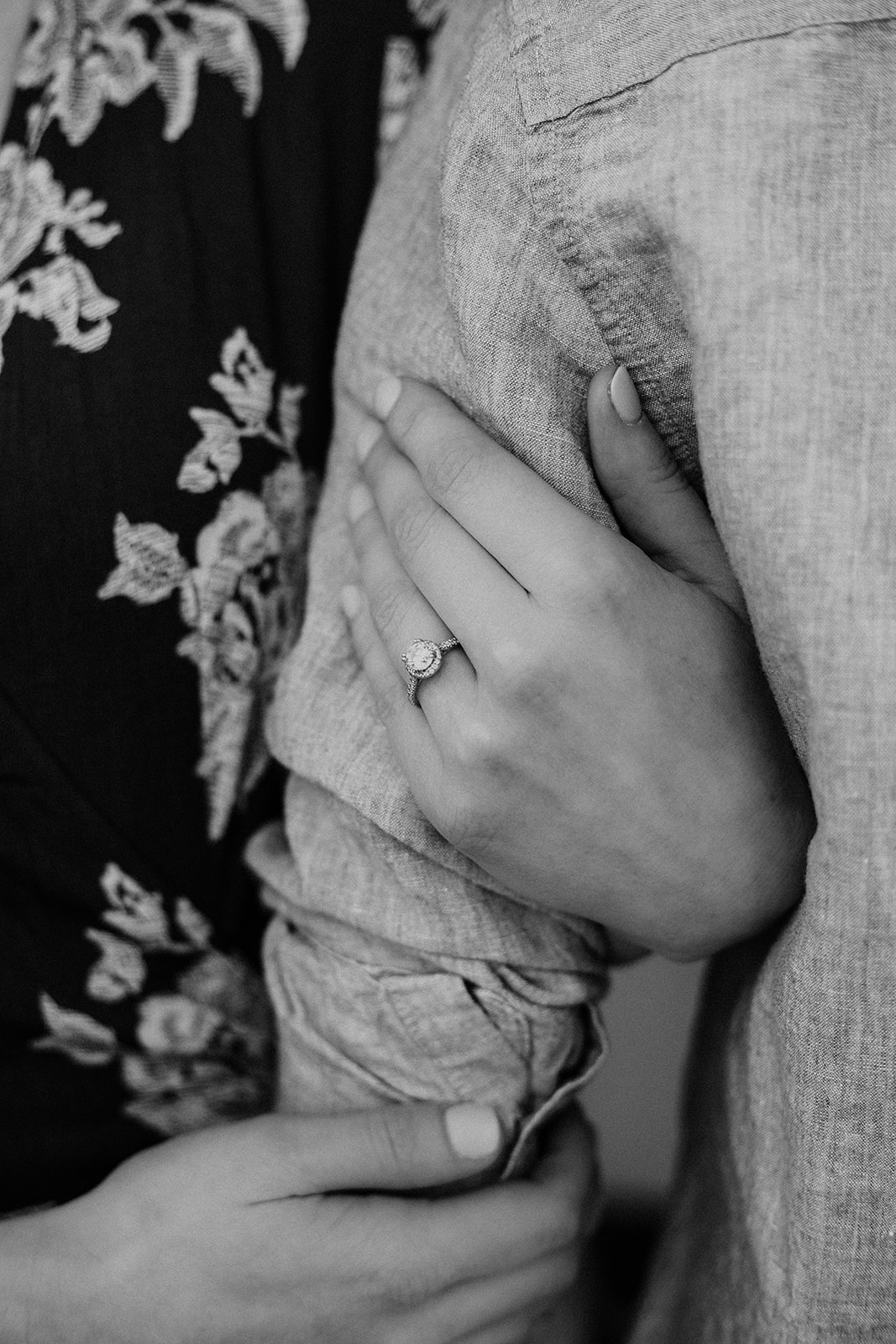 close up engagement ring photo
