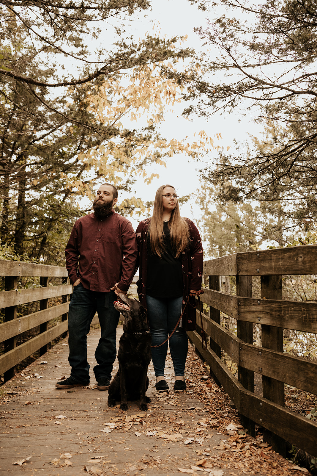 Illinois Fall Engagement Session with Dog