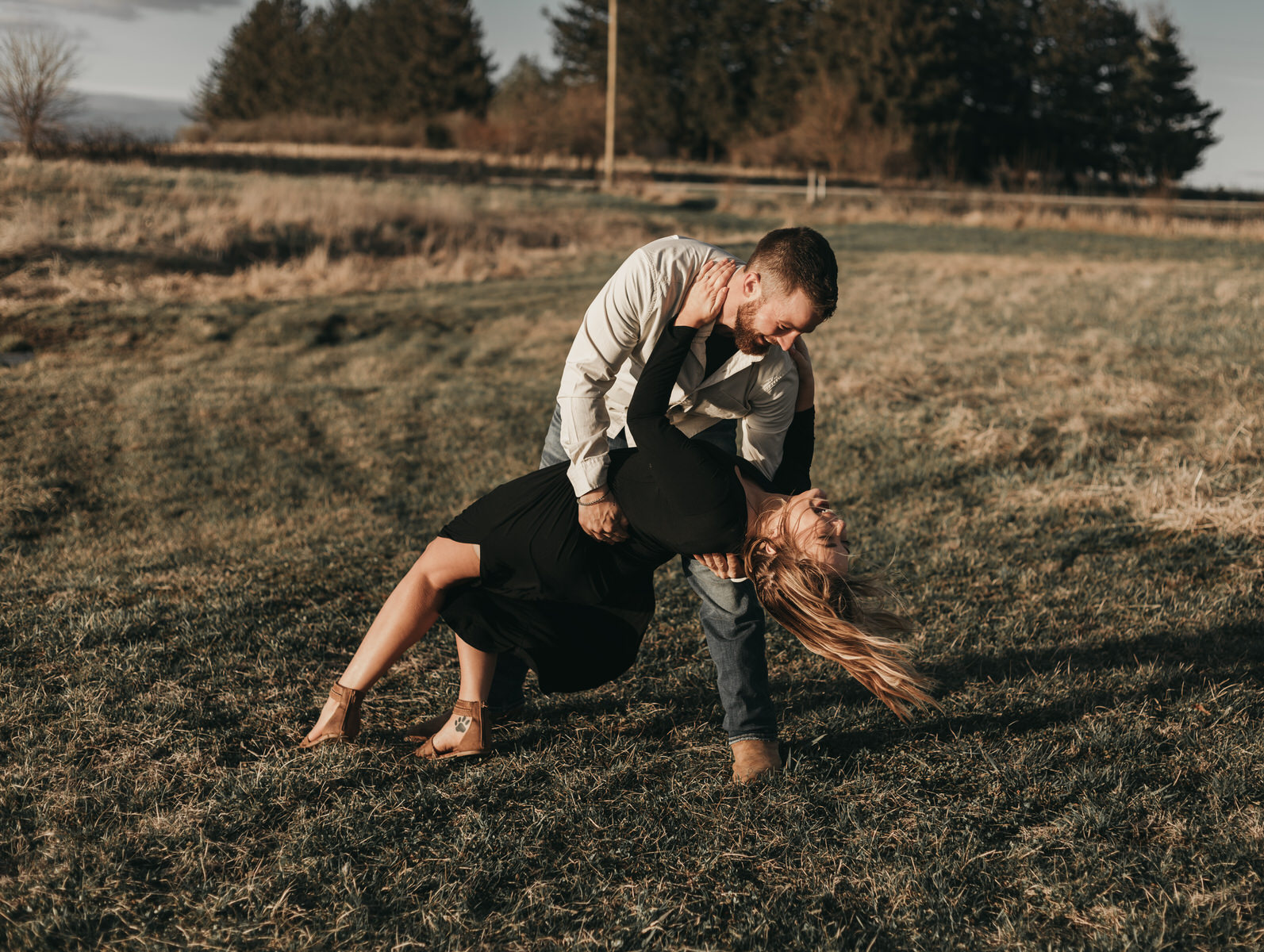 Lauren & Tom Adventurous Outdoor Engagement Family Farm Dancing Dip