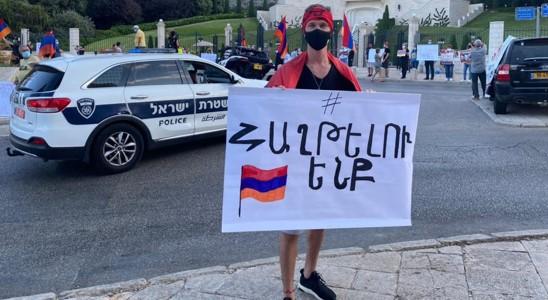 הפגנה בחיפה נגד מכירת נשק לאזרבייג'ן; המפלגה הקומוניסטית הארמנית דורשת הפסקת אש מיידית