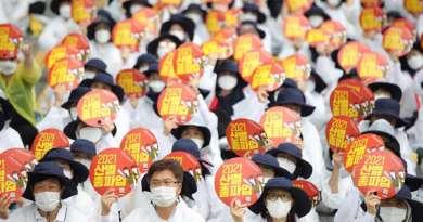 חצי מיליון עובדים דרום קוריאנים שבתו במשך יום שלם ; משבר הקורונה משך את הדרום קוריאנים לנקודת שבירה