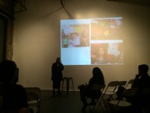 Nancy Bulalacao MCed the AALR 90s Asian American Activism launch at Dumbo Sky [see projections of protests]