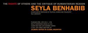 Seyla Benhabib April 10th, 4 pm