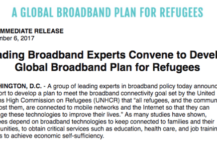 Press Release: Global Broadband Plan for Refugees