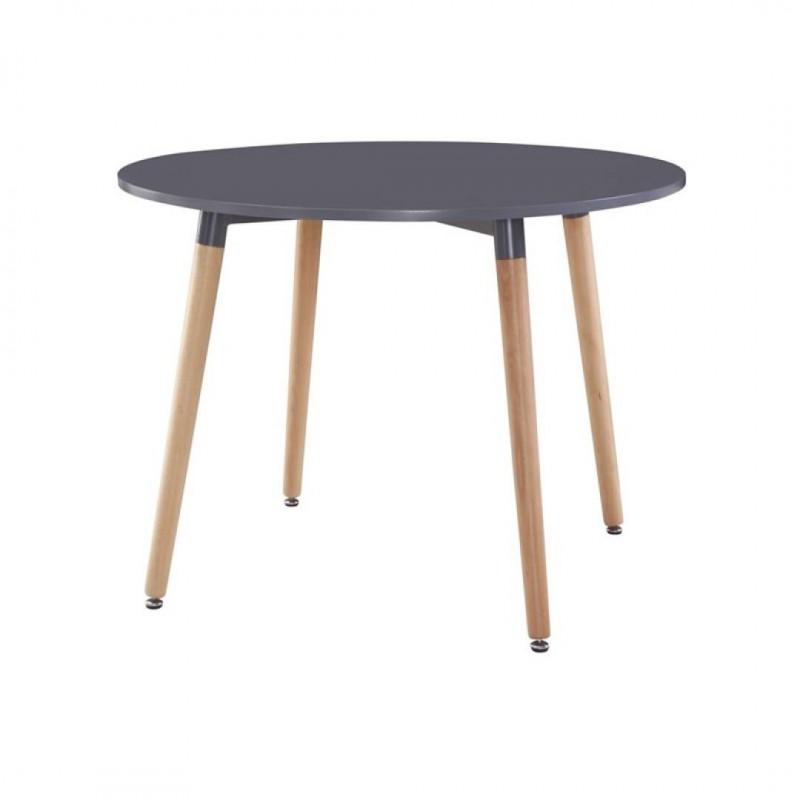 klary table 4 personnes ronde bicolore laquee grise et pied metal effet bois