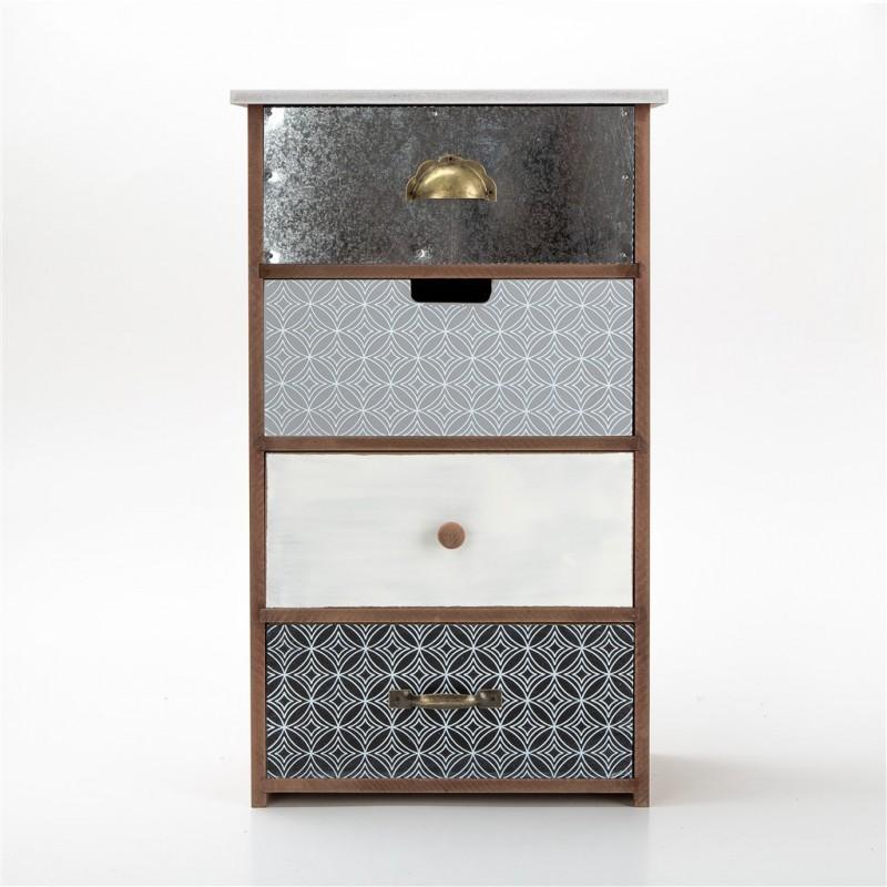 petit meuble decoratif en bois 27x15x45cm 2 couleurs gris