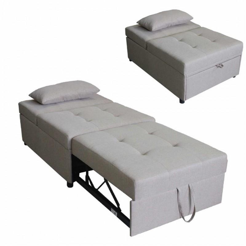 fauteuil convertible clic clac coussin amanda couleur taupe collection amanda