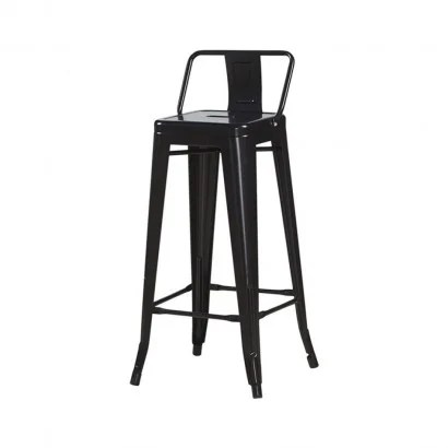 industrial bar stool with tolix inspired backrest seat height 76cm color black collection retro