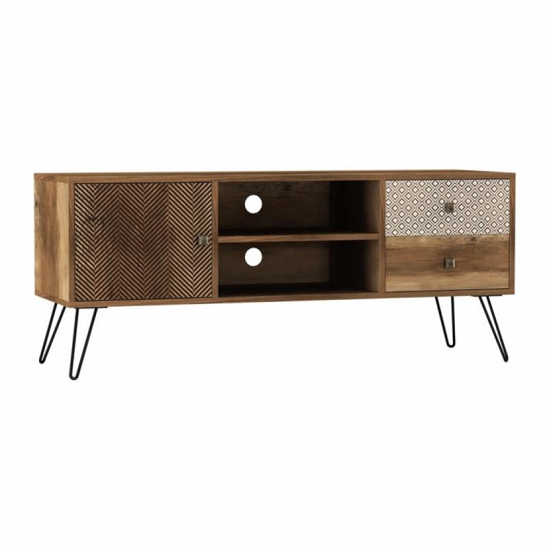 meuble tv paris effet bois chene l 39 x p 120 x h 50 cm